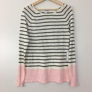 Sag Harbor Pink Black Striped Long Sleeve Sweater